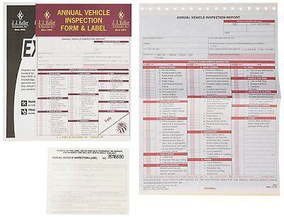J.J. Keller 471 Annual Vehicle Inspection Report and Label