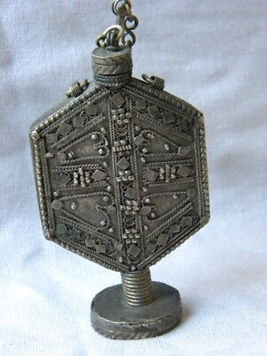 Antique Metal Rare Perfume Bottle Ornate Chain