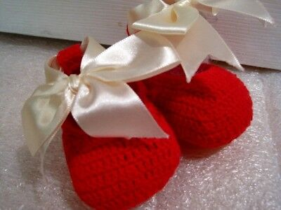 Elegantbaby EB Brand New Red Crochet Booties with Bow, New with tag