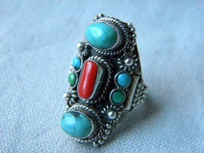 ANTIQUE STERLING SILVER RING ORNATE ETHNIC WIDTH STONES 18mm