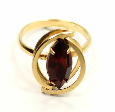 Interesting Design Marquise Red Crystal Gold Tone Estate Ring Size 7 1/2