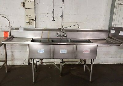 Win Holt Stainless Steel 3 Compartment Sink with Two Drainboards and Sprayer