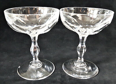 Antique Pair of Victorian Cut Glass Crystal Saucer Champagne Coupes c1890