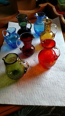 "Lot of 7 Vintage Crackle Pitchers- sizes 3.5"" - 5"" tall"