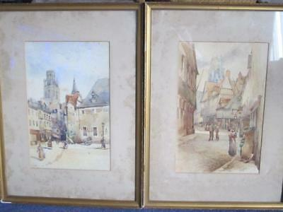 Pair Of Late 19th Century Watercolours - Rouen Street Scenes