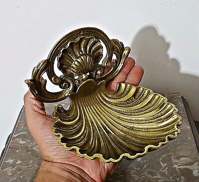 Antique 19th Century Soap Dish Ornate Shell Solid Brass Very Attractive !!!