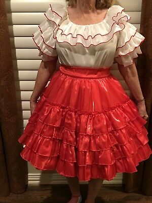 Shimmering Red and White Medium Sized Square Dance Outfit