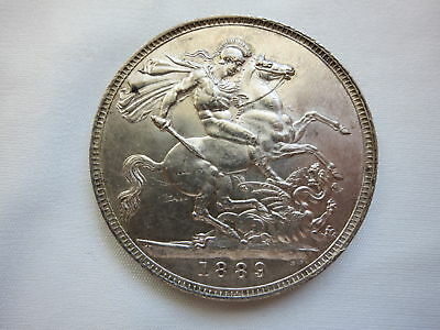 GREAT BRITAIN England silver Crown 1889 About UNC Victoria #AA40