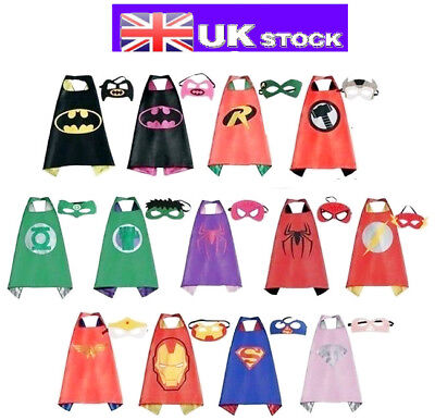 Children Kids Superhero Fancy Dress Costume Boys Girls Cape Mask Batman Party
