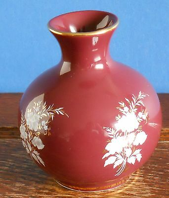 a Prinknash abbey pottery Bud vase in burgundy Gilt