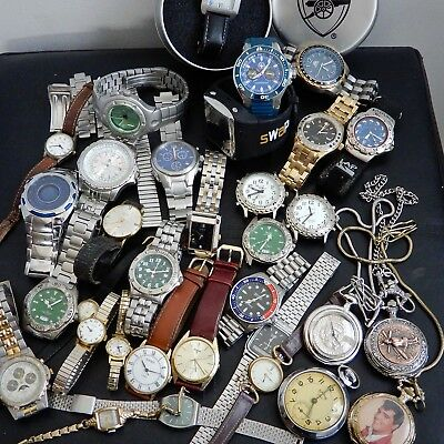 JobLot Of Watches Working & Spares & Repairs Divers Zeon Pulsar Smiths Vintage