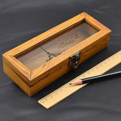 Vintage Clear Wooden Pencil Case Holder Stationery Case Jewelry Storage Box Gift