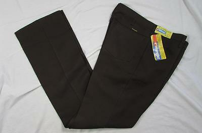 Vtg NOS 70s Wrangler Sta Prest Brown Dress Pants Slacks Boot Cut Measure 35x35.5