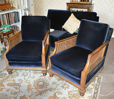 Antique Edwardian Solid Walnut Bergere Sofa & Two Chairs Suite Blue Draylon