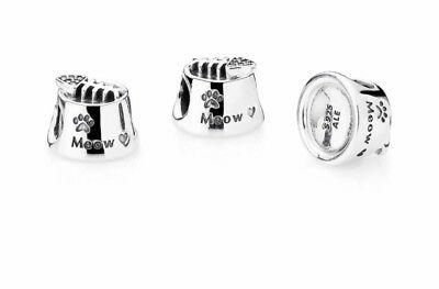c5cb621fd AUTHENTIC PANDORA, Meow Cat Bowl With Fish On Top,Sterling Silver,791716CZ,