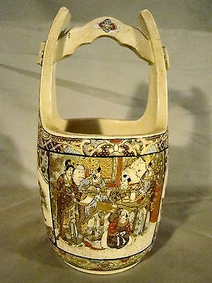 Antique Meiji Satsuma Art Pottery Hand Painted Water Bucket 19th c