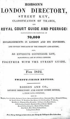 Robson's London Directory 1842 on pdf DVD