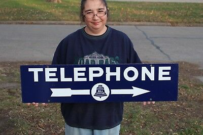 "Vintage 1940's Telephone Bell System Gas Oil 2 Sided 35"" Porcelain Metal Sign"
