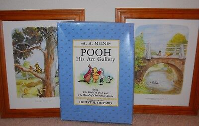 Classic Pooh Ernest Shepard Art Prints Pooh and his Art Gallery w/ frames lot