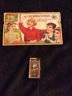 Vintage Sewing Susan And Queen Victoria Gold Eyed Sewing Needles
