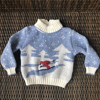 VTG Boys Toddler 2T Ski Sweater Ugly Sweater Christmas Winter Novelty Sweater