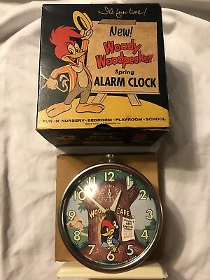 Vintage Woody Woodpecker 1958 Ivory New Old Stock Clock 540L
