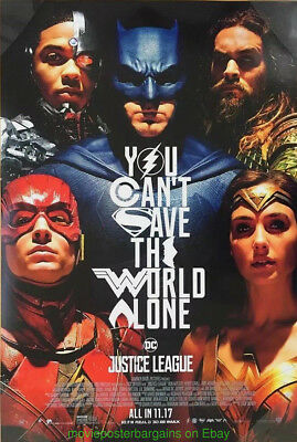 JUSTICE LEAGUE MOVIE POSTER Original DS 27x40 Final Style ALEX ROSS Like Art