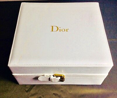 Dior Box Empty 9L x 8W x 4.5H Leather Wt Gold Buckle Stitched Satin Lined Inside