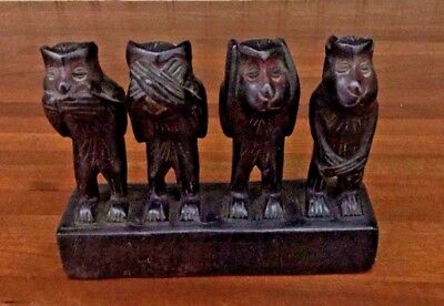 Wood Carved 4 Wise Monkeys, See Hear Speak and Do No Evil
