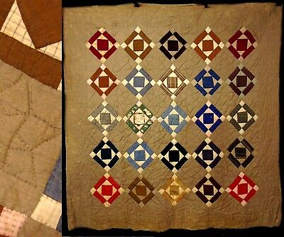 Antique Hand Stitched Stars Diamond & Block 1912 Primitive Quilt Bed Coverlet