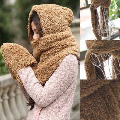 Gloves With Pocket Fluffy Hood Scarf Earflap Hat Winter Warm Women Ladies Scarf