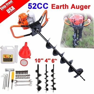 52cc Petrol Earth Auger 2HP Post Hole Borer Ground Drill w/ 3 Bit + Extension FS