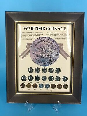 1942-45 WWII Framed Wartime Coinage Collection Nickels & Pennies 20 Coins total