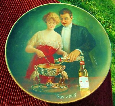 """*Rare* Circa 1915 Budweiser Beer Pre-Prohibition 16"""" Metal Sign Charger Say When"""