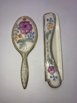 Vintage England Dressing Table Vanity Floral Comb and Mirror Mini Set