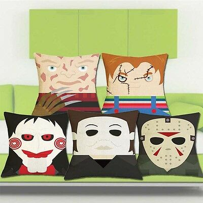 18'' Home Decorative Sofa Throw Pillow Cover Linen Square Horror Movie Theme