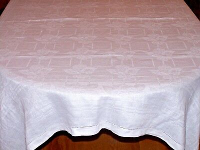 "Vintage Antique Irish Linen Damask Tablecloth, 72"" Snow White, Floral Theme 1930"