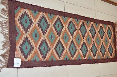 Runner Kilim Rug 60x180cm Wool Indian Hand Knotted Diamond Turkish Long