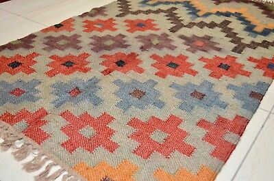 Indian Kilim Rug Hand Knotted Diamond 90x150cm Moroccan Muted Natural Second