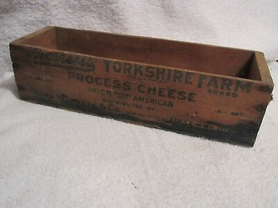 vintage wood cheese box Morrell's Yorkshire Farm 5 lbs box lot GC