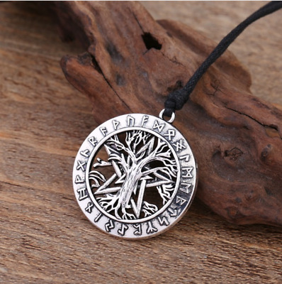 Tree of Life Circle Pentacle Pentagram Viking Rune Wiccan Pagan Tibetan Necklace