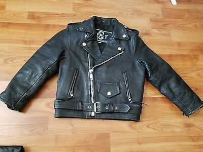 Vintage SHAF MOTORCYCLE JACKET Biker GENUINE LEATHER Youth Kids Child SZ M 4 5