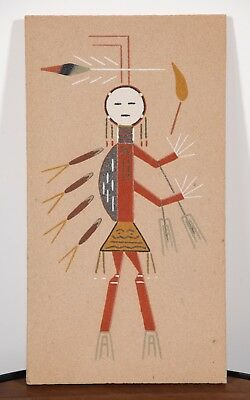 Native American Navajo Sand Ritual Painting YEI EAST MALE Signed Harry H Begay