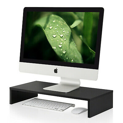 FITUEYES 1 tier Wooden Computer Monitor Riser Stand fit PC IMAC TV Screen Black