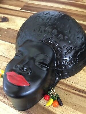 VINTAGE REPRODUCTION Plaster CHALKWARE BLACK LADY Wall Plaque FRUIT EARRINGS