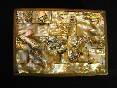 Mexico Inlaid Mother of Pearl Hinged Top Brass Box