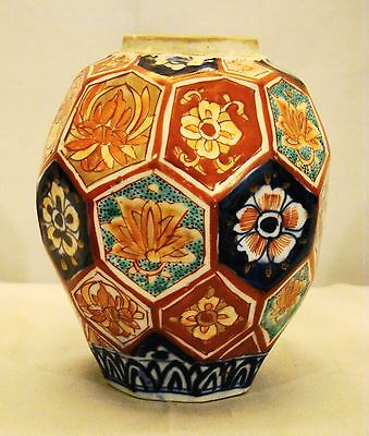 Antique Japanese 19th Century Meiji Imari Porcelain Faceted Vase