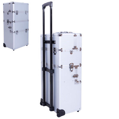 New Fashion Pro 3 in1 Aluminum Rolling Makeup Cosmetic Train Case Wheeled Box US