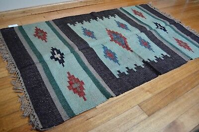 Kilim Hand Knotted Diamond Rug 90x150cm Runner Muted Natural Indian Second
