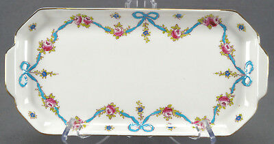 Crown Staffordshire Blue Bows F4547 Hand Colored Bows & Pink Roses Sandwich Tray